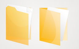 Deux ont ouvert les dépliants jaunes Image stock