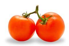 Deux ont perfectionné des tomates (avec le chemin de découpage) Images stock