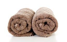 Deux ont roulé les serviettes brunes Photographie stock libre de droits