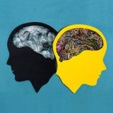 Deux ont stylisé les silhouettes principales Désordre bipolaire photographie stock