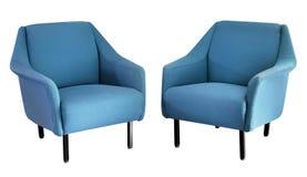 Deux ont tapissé les fauteuils bleus d'années '50 Images stock