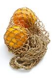 Deux oranges dans le chaîne de caractères-sac photographie stock