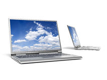 Deux ordinateurs portables Image libre de droits