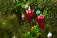 Deux ornements de Noël de vintage - fruits de paprika de poivre Photographie stock