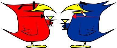 Deux ou trois oiseaux à une réception de cocktail Photo libre de droits