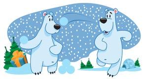 Deux ours blancs, caractères, nouvelle année, lance des boules de neige Image libre de droits