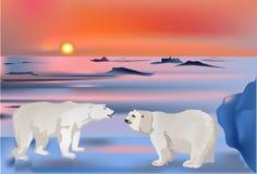 Deux ours dans l'horizontal de neige illustration libre de droits