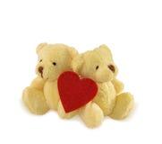 Deux ours de nounours avec le coeur sur le blanc Photo libre de droits