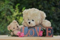 Deux ours de nounours blancs avec des pierres d'amour Photographie stock
