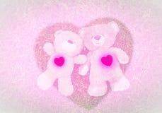 Deux ours de nounours fixant pour le fond de Valentine Image libre de droits
