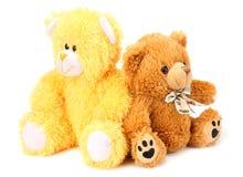 Deux ours de nounours de jouet d'isolement sur le fond blanc photo libre de droits