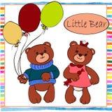 Deux ours de petit garçon et de fille Images libres de droits