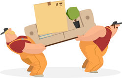 Deux ouvriers portent le sofa, une boîte de choses, le livre d'intérieur et le rostenie Service de distribution Taux de pression  illustration libre de droits