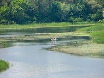 Deux pêcheurs dans le bateau photographie stock libre de droits