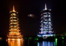 Deux pagodas, Guilin, Chine, Image libre de droits