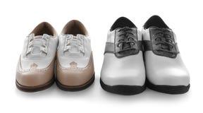 Deux paires de chaussures en cuir de golf images stock