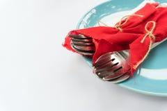 Deux paires de cuillère et de fourchette photos stock