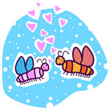 Deux papillons colorés dans l'amour Photos libres de droits