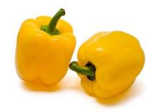 Deux paprikas jaunes Photos stock