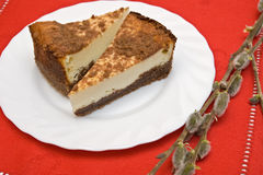 Deux parties de gâteau au fromage Photos libres de droits