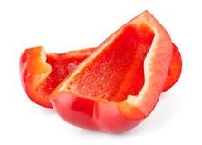 Deux parts de poivron rouge Photo libre de droits