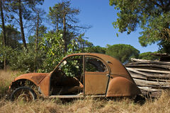 Deux pattes. Old mythical rusty abandoned french car Stock Image