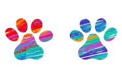 Deux pattes colorées de chats sur le fond blanc illustration stock