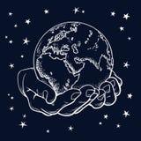 Deux paumes tiennent le globe illustration libre de droits