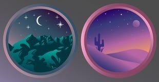 Deux paysages plats de nuit avec les étoiles et la lune Photographie stock