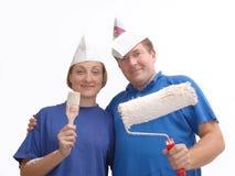 Deux peintres à la maison Image stock