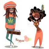 Deux personnages de dessin animé mignons de reggae illustration libre de droits