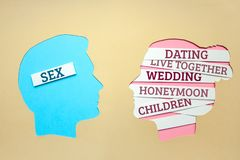 Deux personnes communiquent face à face, l'homme et la femme Le type de concept a besoin seulement du sexe et des rêves de fille  image libre de droits