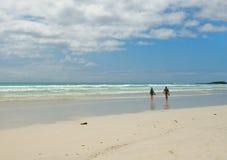 Deux personnes marchant dans la plage Image libre de droits