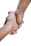 Deux personnes se serrant la main, d'isolement Photographie stock libre de droits