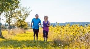 Deux personnes supérieures en bonne santé pulsant sur une route de campagne en été image stock