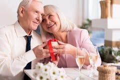 Deux personnes supérieures joyeuses partageant un moment agréable Photos stock
