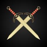 Deux épées médiévales d'isolement Photo libre de droits