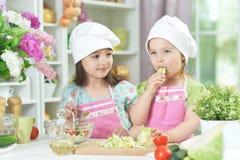 Deux petites filles adorables dans les tabliers préparant la salade délicieuse images libres de droits