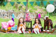 Deux petites filles buvant du jus dans un flacon cristal à se reposer dehors dans un jardin sur le pastel de port ensoleillé de j Photo stock