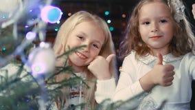 Deux petites filles décorent un arbre de Noël banque de vidéos