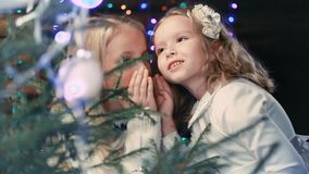 Deux petites filles décorent un arbre de Noël clips vidéos