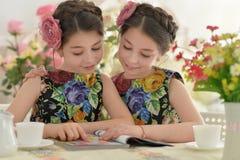 Deux petites filles dans des robes florales Image stock