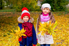 Deux petites filles en parc d'automne avec des feuilles Photo stock