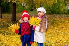 Deux petites filles en parc d'automne avec des feuilles Images libres de droits