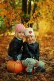 Deux petites soeurs adorables en automne se garent avec des feuilles Image libre de droits