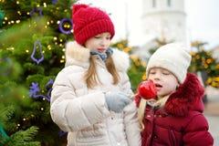 Deux petites soeurs adorables mangeant les pommes rouges couvertes de glaçage de sucre sur le marché traditionnel de Noël Photographie stock