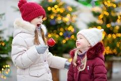 Deux petites soeurs adorables mangeant les pommes rouges couvertes de glaçage de sucre sur le marché traditionnel de Noël Photo stock
