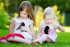 Deux petites soeurs alimentant des chatons avec du lait Photographie stock