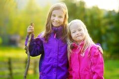 Deux petites soeurs drôles ayant l'amusement pendant la hausse de forêt le beau jour d'automne dans les Alpes italiens Images stock