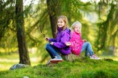 Deux petites soeurs drôles ayant l'amusement pendant la hausse de forêt le beau jour d'automne dans les Alpes italiens Photo libre de droits